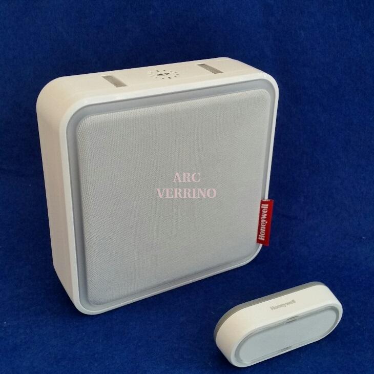 Campanello portatile wireless Honeywell DC917SL bianco, con 8 melodie personalizzabili e pulsante